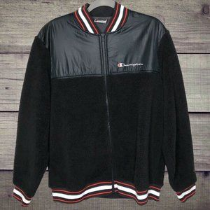 Champion Black Sherpa Baseball Zip Up Jacket Mens